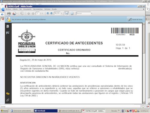 Certificado de Antecedentes  antecedentes contraloria