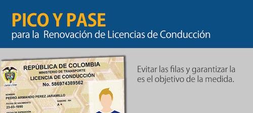 Pico y pase para licencias de Conduccion