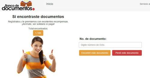 Web para recuperar documentos perdidos